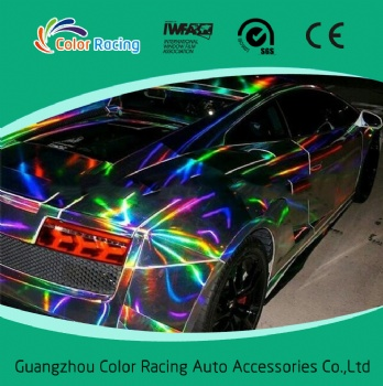 New Fashion design color changed chrome laser holographic rainbow film vinyl