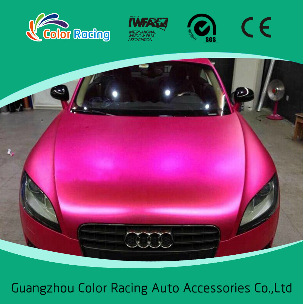 Color Racing auto stickers matte chrome blue car wrap vinyl