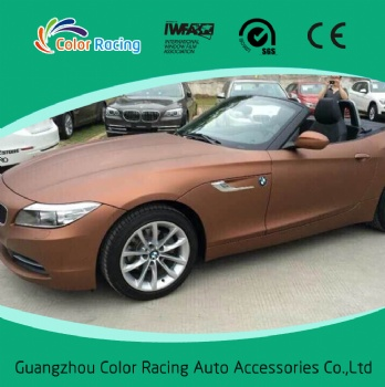 Hot selling self adhesive matte chrome coffee color vinyl car wrap material