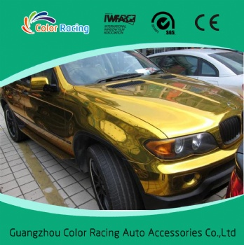 Good shrinkability 1.52x30m self adhesive chrome gold auto wrap vinyl