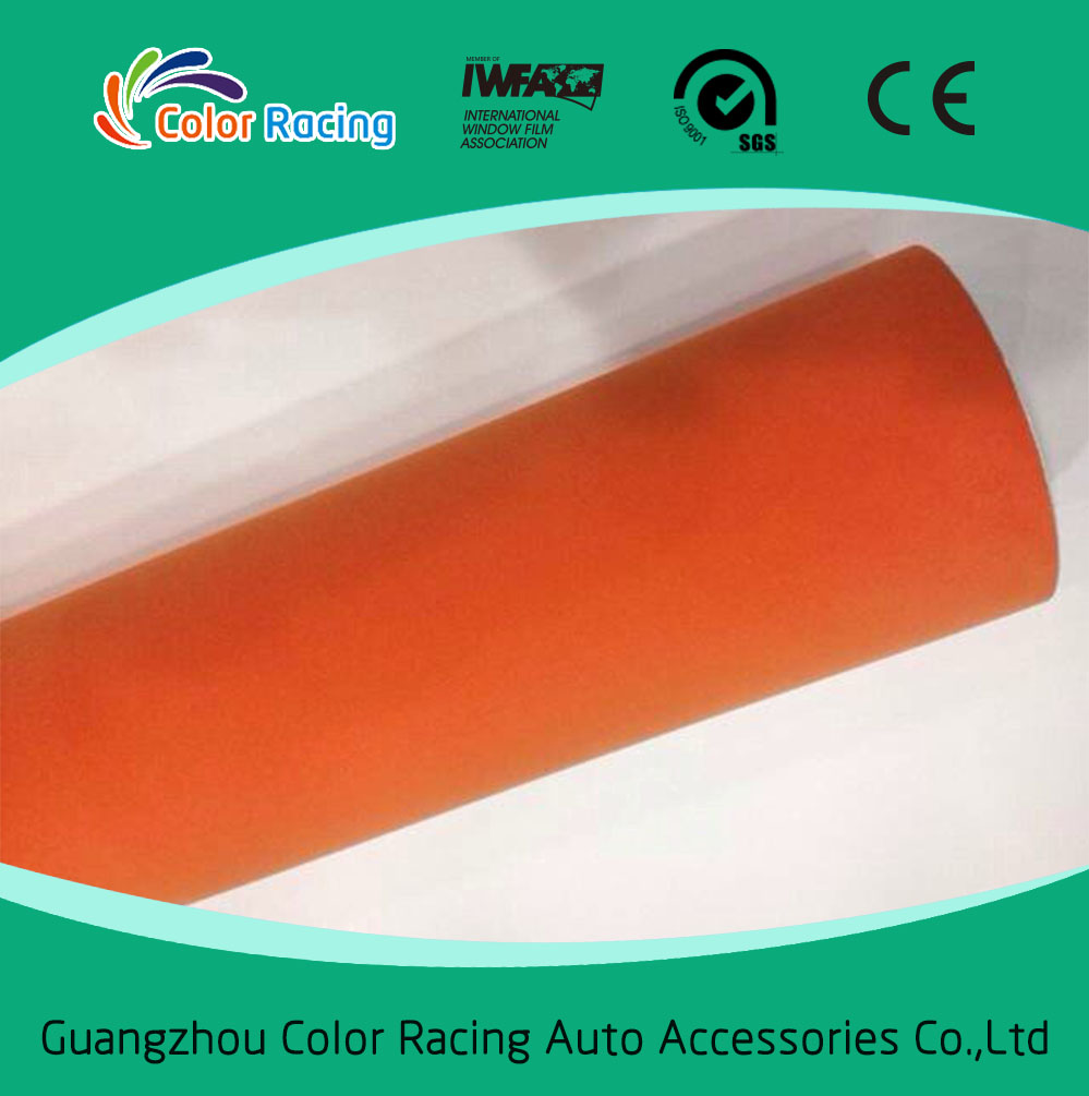 3 years guarantee orange Fabric Velvet Car Wrap